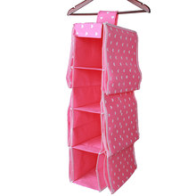 Wardrobe Hanging Storage Clothes Bag Holder Rack Underwear Organizer Green Wvae Point Pink Heart Pattern