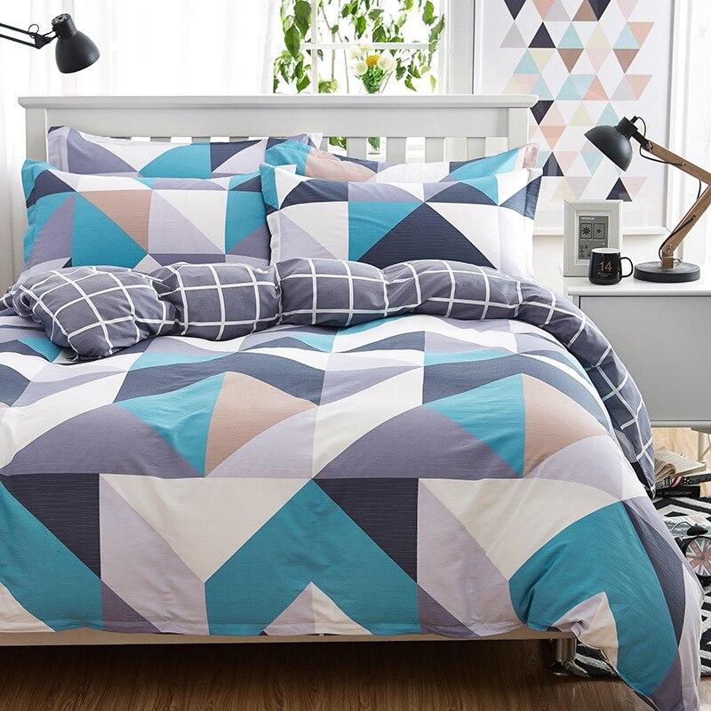 100% Bed Sheets Cotton Plaid Bedding Sets Plaid De Lit Queen Duvet Cover Cotton Desinger Bed Lines Bed Cover Linen Home Bed