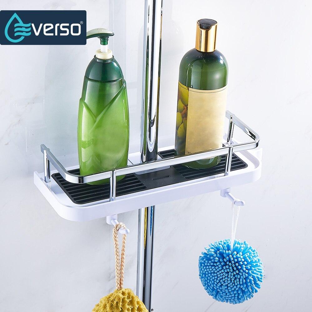 Badezimmerarmaturen Everso Badezimmer Regal Dusche Storage Rack Halter Shampoo Bad Handtuch Tray Home Bad Regale Einreihigen Dusche Kopf Halter Neueste Technik Heimwerker