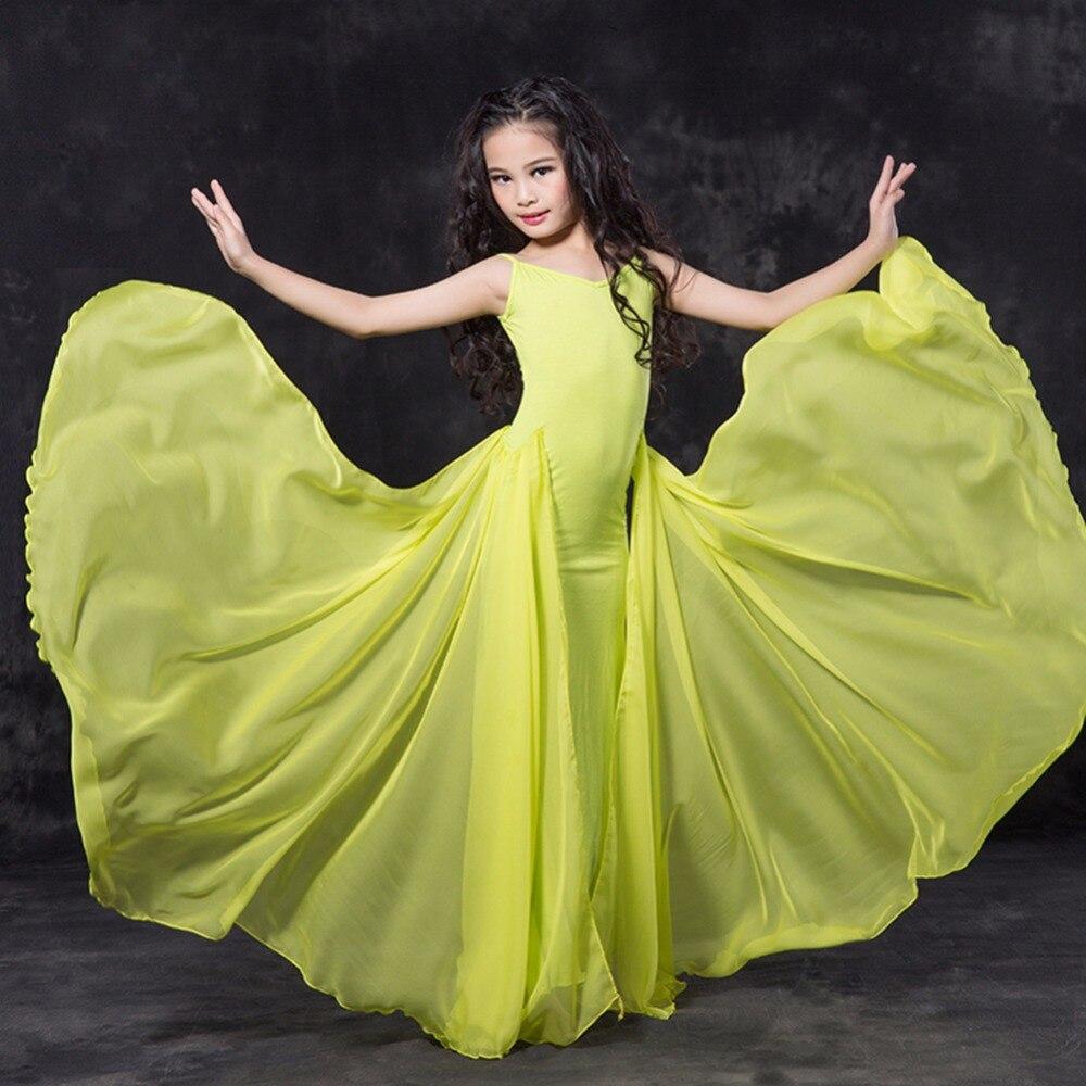 Fantasia Belly Dance Dress For Girl Green/Red/White/Black Elegant Schoolgirl Belly Dancing Skirt Children Belly Garment Q4024