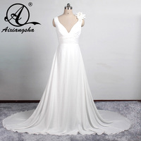 Plus Size Bridal Dresses For Pregnant Women Simple Beach Wedding Dress Chiffon Sexy V neck Maternity Bridal Gowns Cheap
