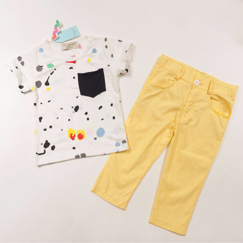 Summer Kids Boys Clothes Fashion Baby Boys Clothing Set Short Sleeves 2pcs Sets Cotton T-shirt + Yellow Pants Boy Costume fashion summer kids boys clothing set 100% cotton short sleeve british and american flag t shirt and jeans boys clothes suits