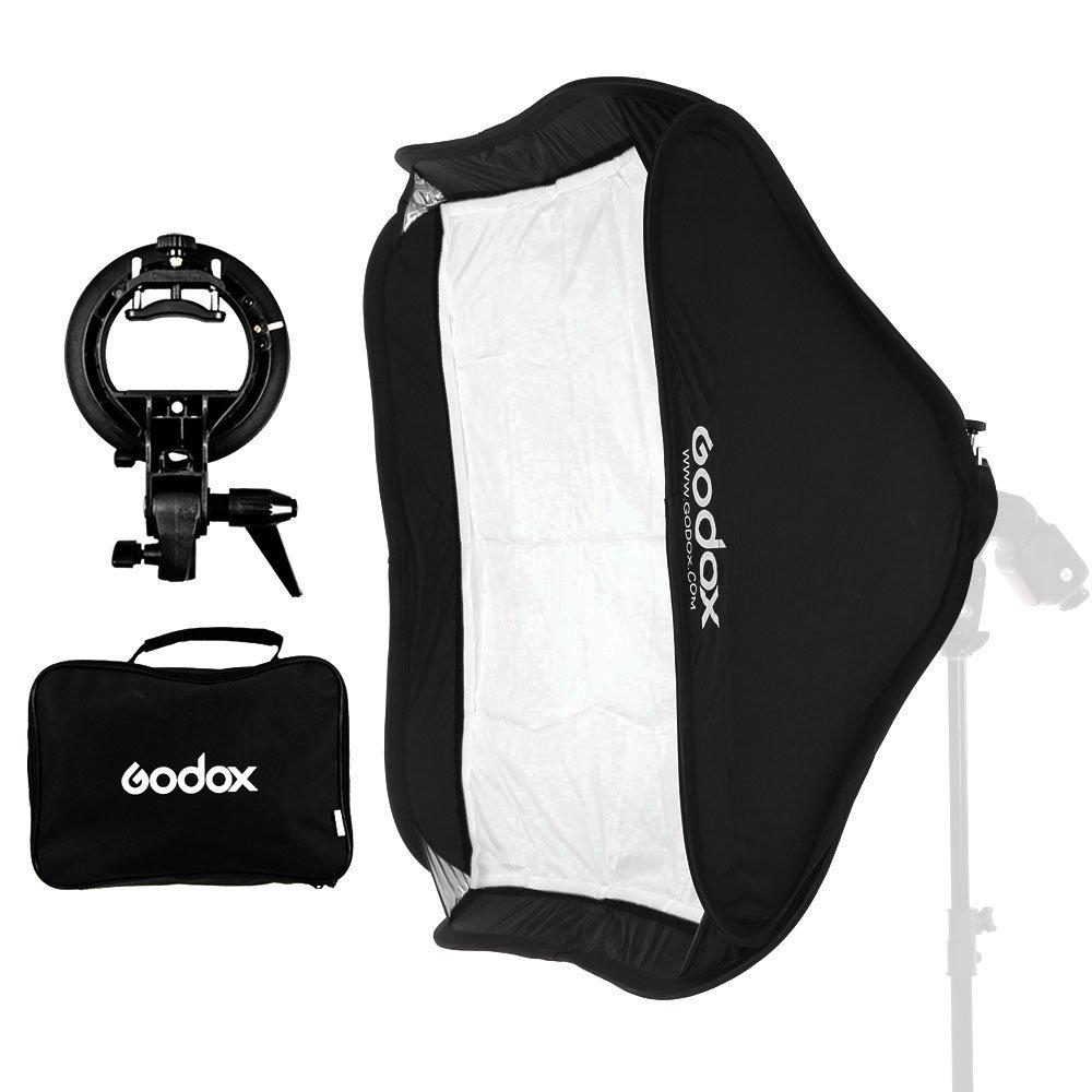 Godox Flash Softbox Kit 80cm * 80cm / 60cm*60cm / 40cm * 40cm + S type Bracket Mount Kit for Flash Speedlite Studio Shooting godox softbox ajustable flash 31 31inch 80cm 80cm s type bracket honeycomb grid mount kit for flash speedlite