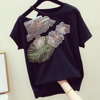 2019 summer new fashion handmade embroidery flower t shirt women o neck short sleeved strapless casual top tees
