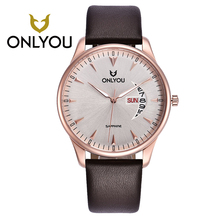 ONLYOU Rose Golden Watch Man Watch 2017 Round Leather Watchband With Date Coffee Band Week Display Waterproof Womens Watches