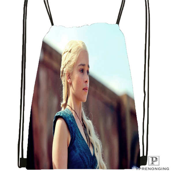 Custom game of thrones khaleesi 1 Drawstring Backpack Bag Cute Daypack Kids Satchel Black Back 31x40cm