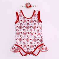 Red Baby Girls My First Christmas Snow Flake Romper 2PCs Per Set Infant Girl Lace Angel