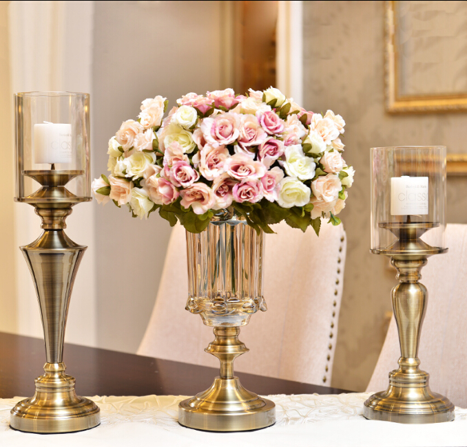 European-American model furnishings living room table ornaments romantic candlelight dinner bronze candlesticks