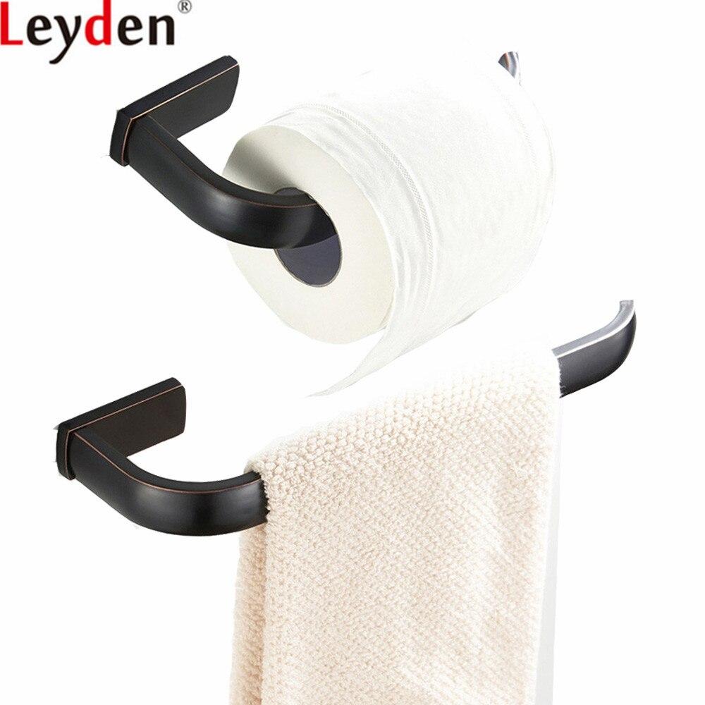 Leyden ORB Solid Brass Wall Mounted Black 2pcs Bathroom Accessories ...