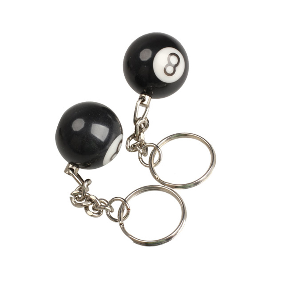 High Quality 2pcs Billiard Pool Keychain Snooker Table Ball Key Ring Gift NO 8 buckle Backpack Pendant Keychains Key Holder