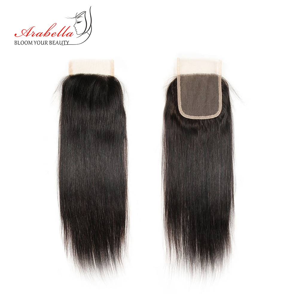 Arabella Brazilian Human Hair 4x4 Lace Closure Straight Remy Hair Closure 1Pc 100% Human Hair Middle/Free/Three Part Closure