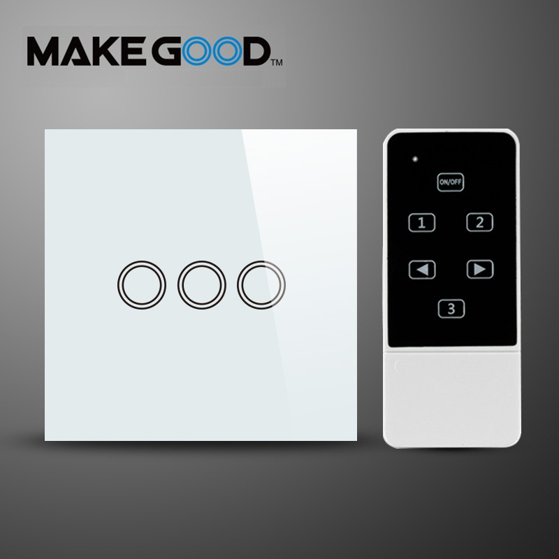 MakeGood EU Standard Touch Switch 3 Gang 1 Way Smart Home Touch & Remote Switch,Crystal Glass Panel Compatible Broadlink RM2 RM smart home touch switch power switch eu standard black 3 gang 1 way crystal glass wall switch 220v light switch control led