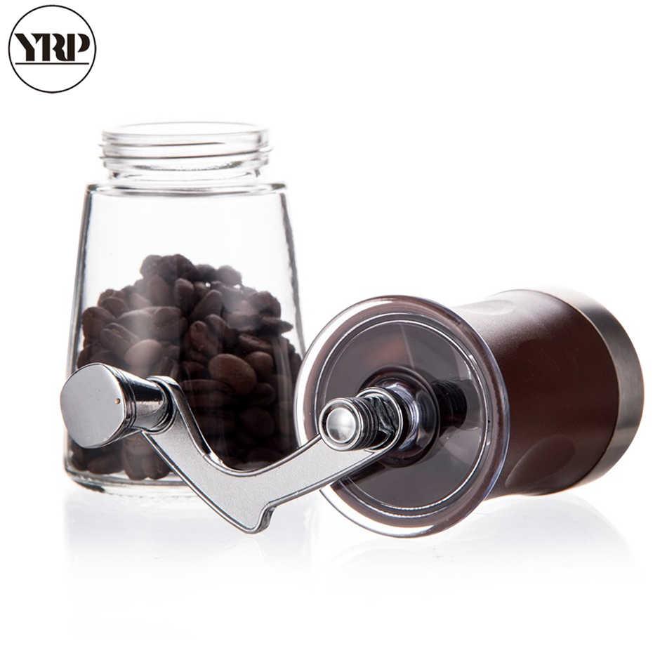 Yrp portátil manual manivela spice/pimenta/porcas/moedor de feijão café com aço inoxidável abs vidro lavável burr café milller