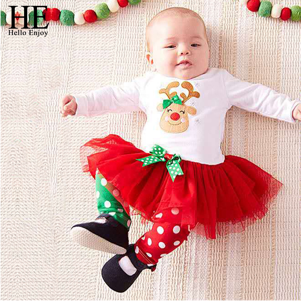 цена на baby christmas outfits kids girls clothes cartoon deer Long sleeve mesh dress+dot pant pajamas suit children clothing sets
