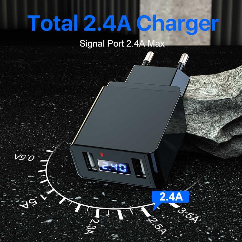 شاحن سريع LED عرض مزدوج USB شاحن الهاتف 2.4A شحن سريع الاتحاد الأوروبي التوصيل المحمول السفر محول حائط آيفون X باد سامسونج