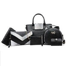 6PCS/Set Serpentine Women Composite Bags Totes Messenger Clutch Wallet Women Leather Handbags Luxury Handbag Women Bags Designer