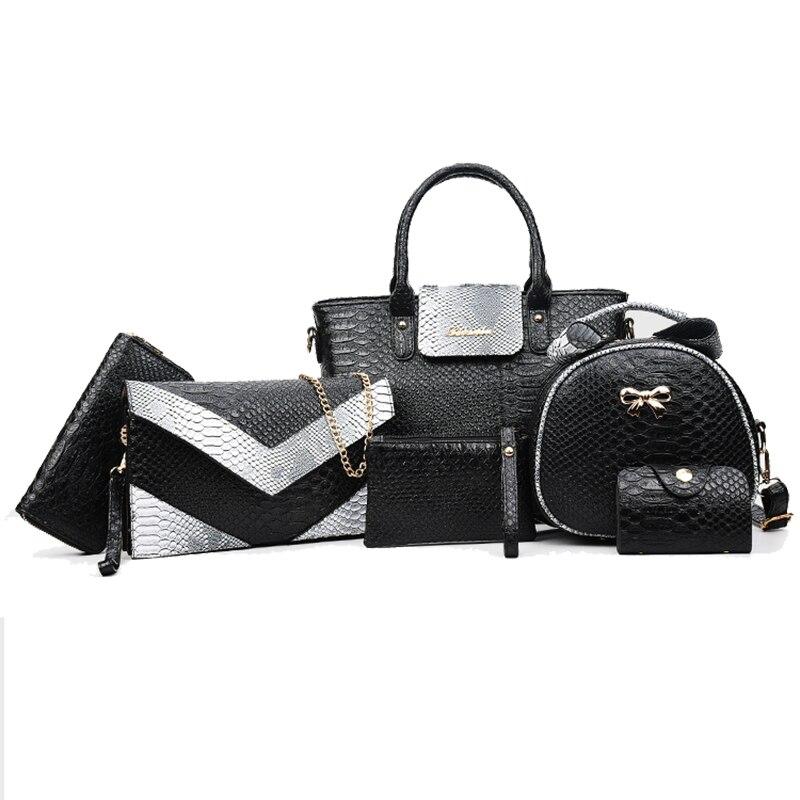 6PCS font b Set b font Serpentine Women Composite Bags Totes Messenger Clutch Wallet Women Leather