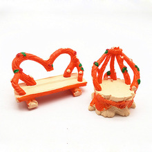 Vintage Silla de corona Miniatura jardín para casa de muñecas bonsái para el hogar Decoración juguete Miniatura Mini ornamentos resina artesanía Micro decoración DIY