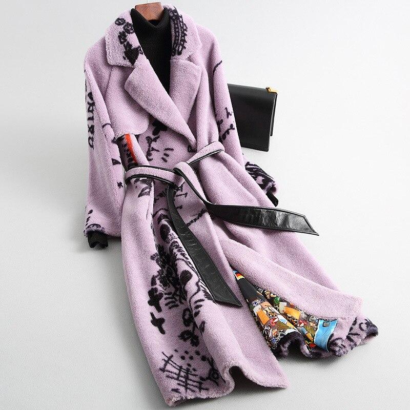 Luxury New 2019 Autumn Winter Real Sheep Wool Fur Coats Ladies Printed Sheep Shearing Long Warm Jackets