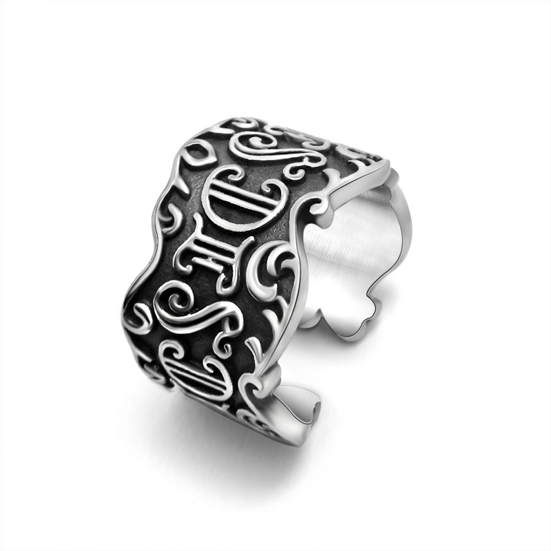 Promotion Sale Retro Stainless Steel Open Rome Letter Rings Good Quality Fashion Vintage Adjustable Finger Rings