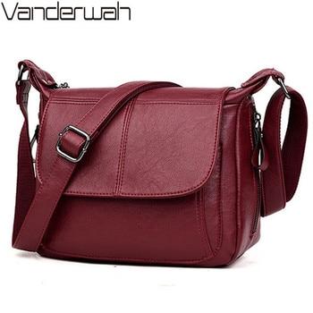 9a461cdba97c Las mujeres mensajero Bolsa crossbody bolsas para las mujeres de la PU  bolsos de cuero bolsos marcas famosas mujeres señoras bolso Bolsa femenina  sac