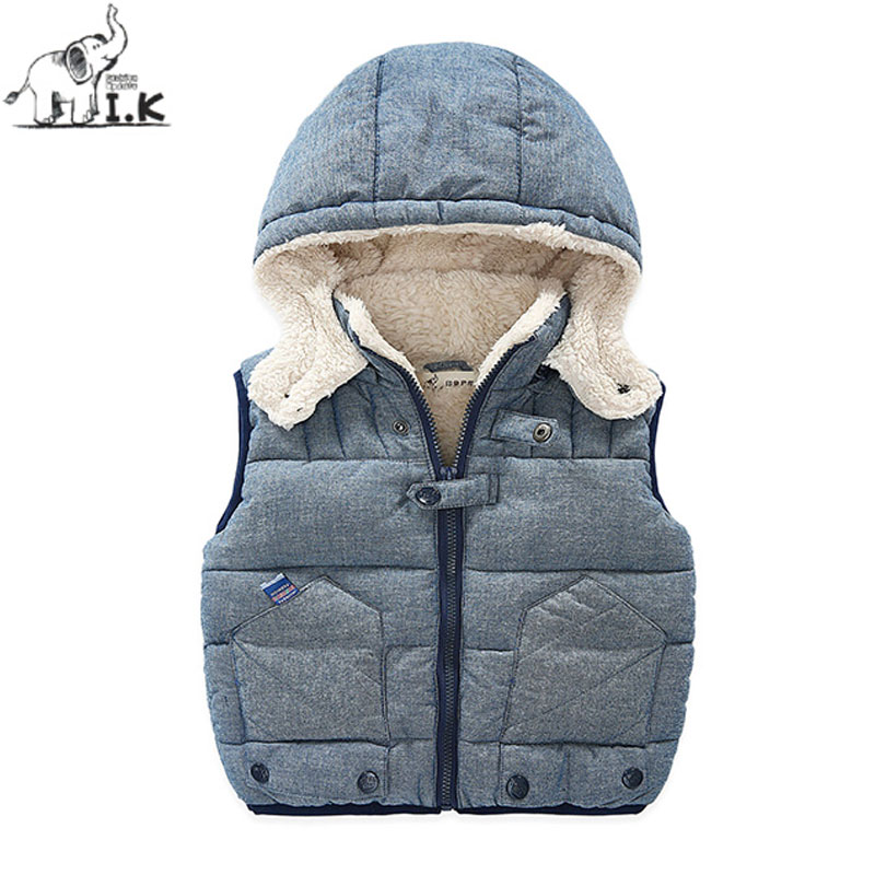 I.K Baby Boys Winter Jacket Down Thick Warm 2017 Fashion Sleeveless Vest Children Kids Clothes Hoodies Cotton Outwearcoat VC4003