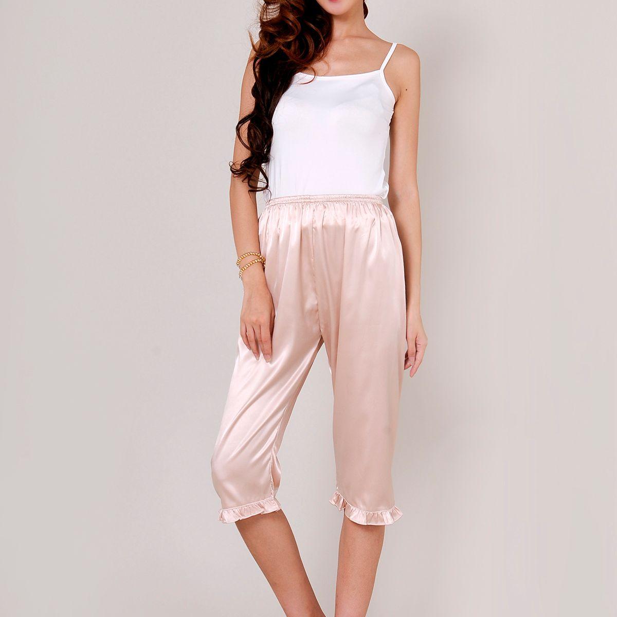Pajamas For Women Silk Pants Calf Length Pants Recreational Womens Silk Sleep Bottoms
