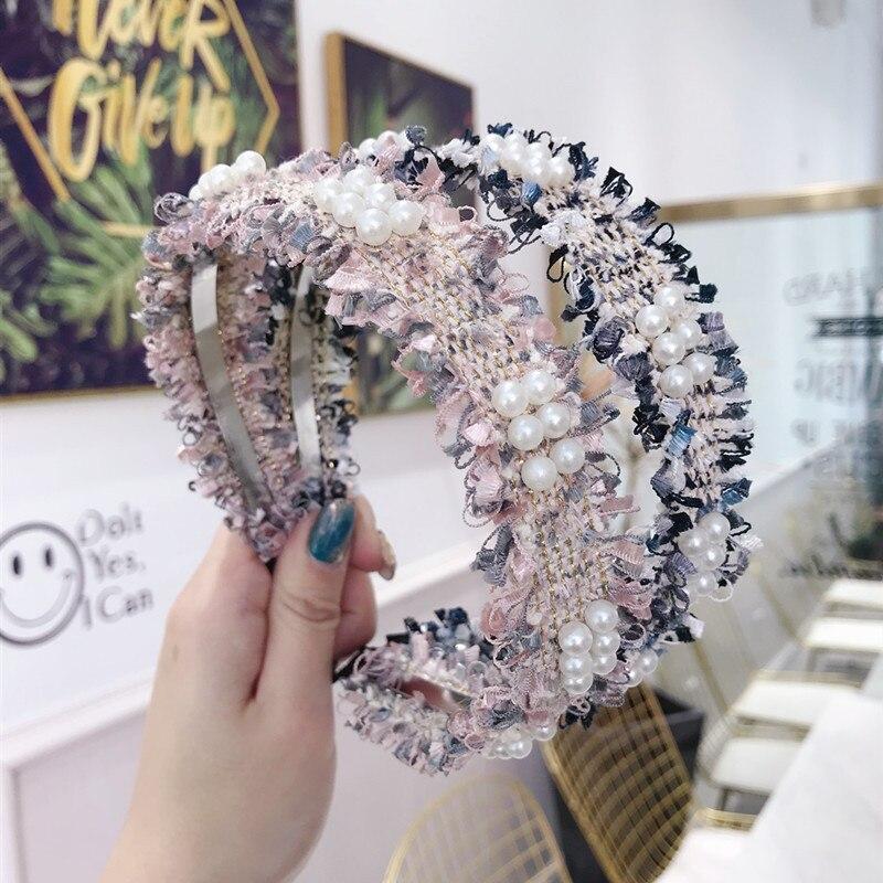 Korea Plaid Pearl Hairbands Hair Accessories For Girls Hair Band Hair Bows Flower Crown Headbands For Women