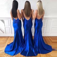 Spaghetti Straps Sexy V-neck Royal Blue Mermaid Evening Dresses