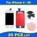 FREE DHL X 20 Complete Original LCD Display + Touch Screen Digitizer Panel + Holder Assembly Frame Replacement For iPhone 4 4S