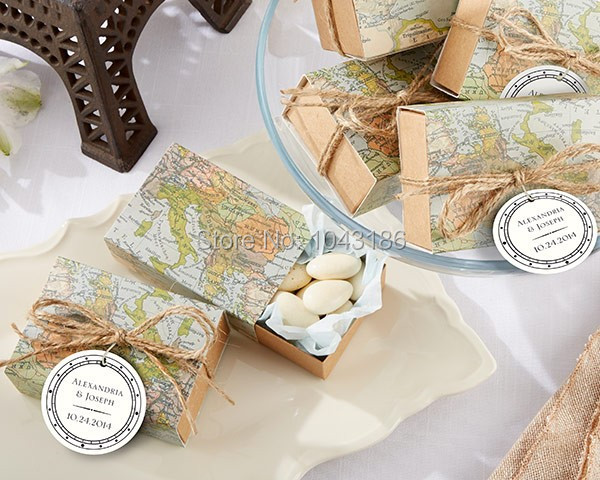 Around the World Map Favor Box for traveling theme wedding decoration gift box and Kraft box Party candy box image