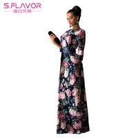 S FLAVOR Brand Women Long Dress Maxi Dress Vestido Longo Printing O Neck Casual Vestidos Bohemian