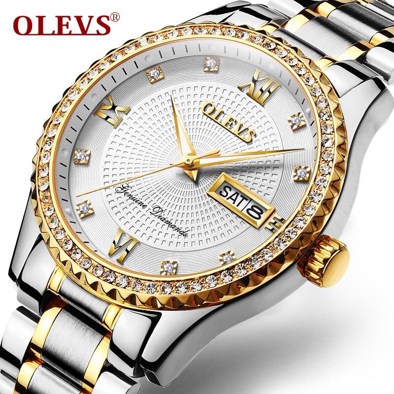 OLEVS De Luxe D'affaires Hommes Montre Automatique Date Mâle Horloge Bracelets Montres À Quartz Cubique Zircon Cadran Calendrier Mans Montres G6618