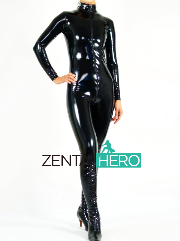 Free Shipping DHL Custom Made New Sexy Black PVC Zentai Catsuit Fancy Dress Zentai Suit For Halloween Party Front Zipper AXM42