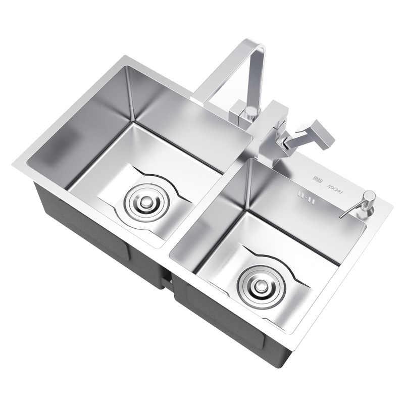 Mutfak malzemeleri el yapımı mutfak lavabosu havzaları SUS304 paslanmaz çelik germe çift oluk mutfak lavabo 75x41/78x43/ 80x45cm