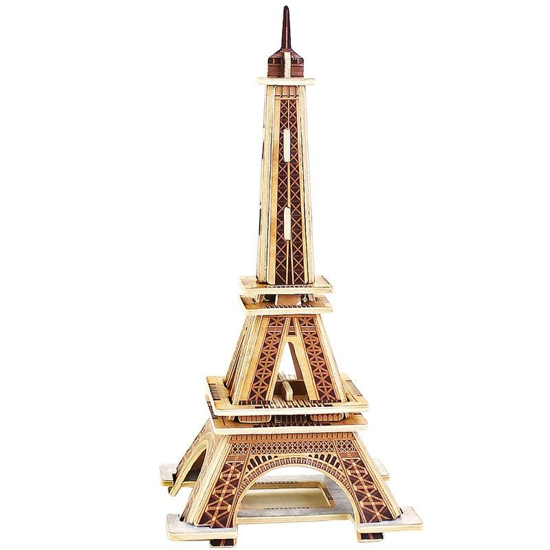 3D Ξύλινα παζλ Κυβικά ξύλινα παζλ Οικοδομικά τετράγωνα του κόσμου Κατασκευή Παιδικά εκπαιδευτικά παιχνίδια Δώρο Πύργος του Άιφελ