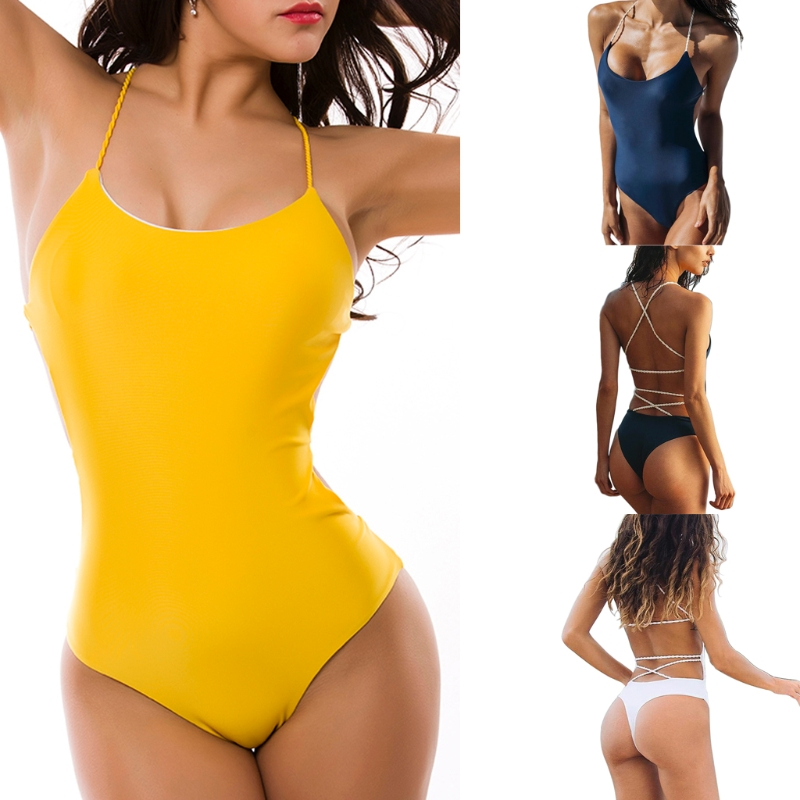 Women Sexy Backless Halter Neck Bandage Solid Color One-piece Swimsuit Swimwear-M15