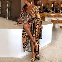 Sexy Printing V-Neck Women Long Dress Bohemian Sleeve Female Summer 2019 Fashion Party Clothing