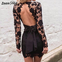 Women Dress 2016 Elegant Black Pink Red Bodycon Lace Dresses Sexy Backless Long Sleeve Evening Party