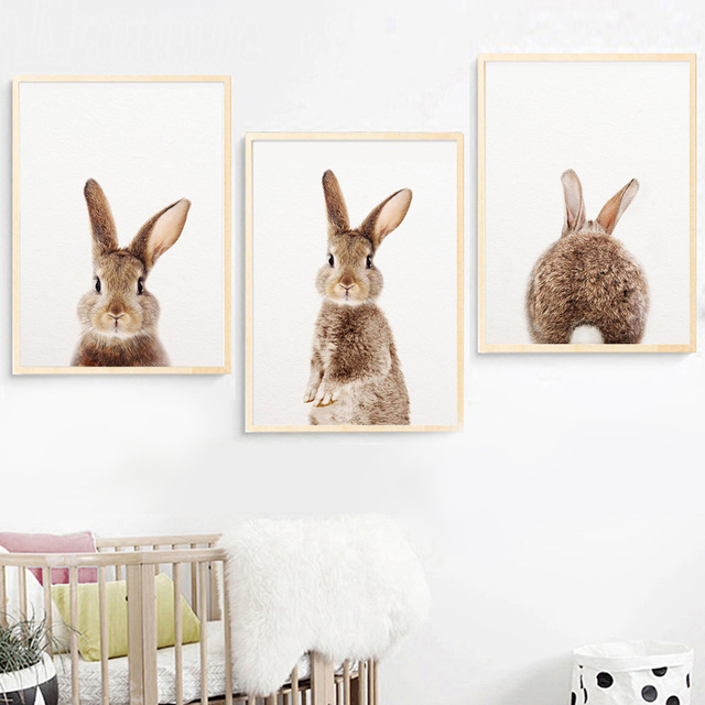 Wall Art Canvas Painting Kawaii Rabbit Animal Nordic Posters And Prints Bunny Nursery Pictures For