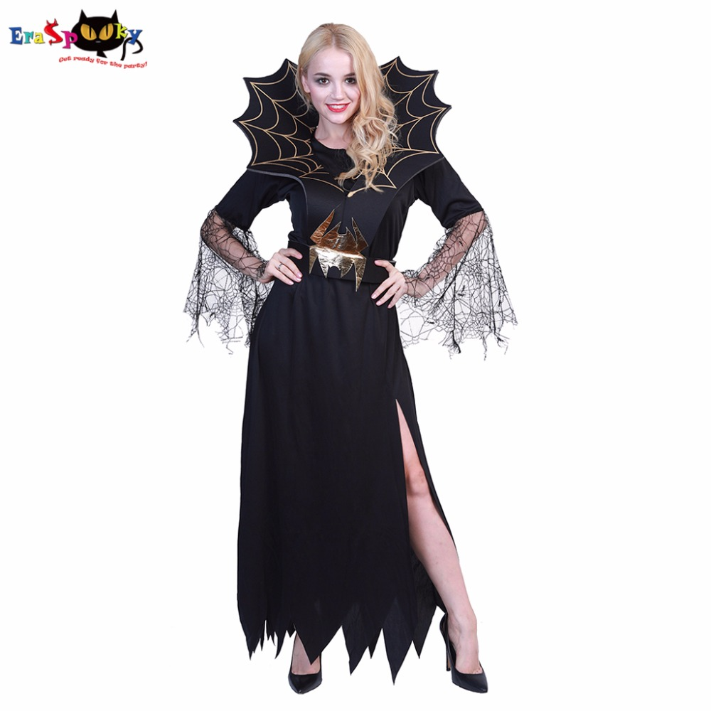 Eraspooky halloween costume for women black lace fancy dress fantasia adulto Vampire Demon Devil costumes Spider Cosplay
