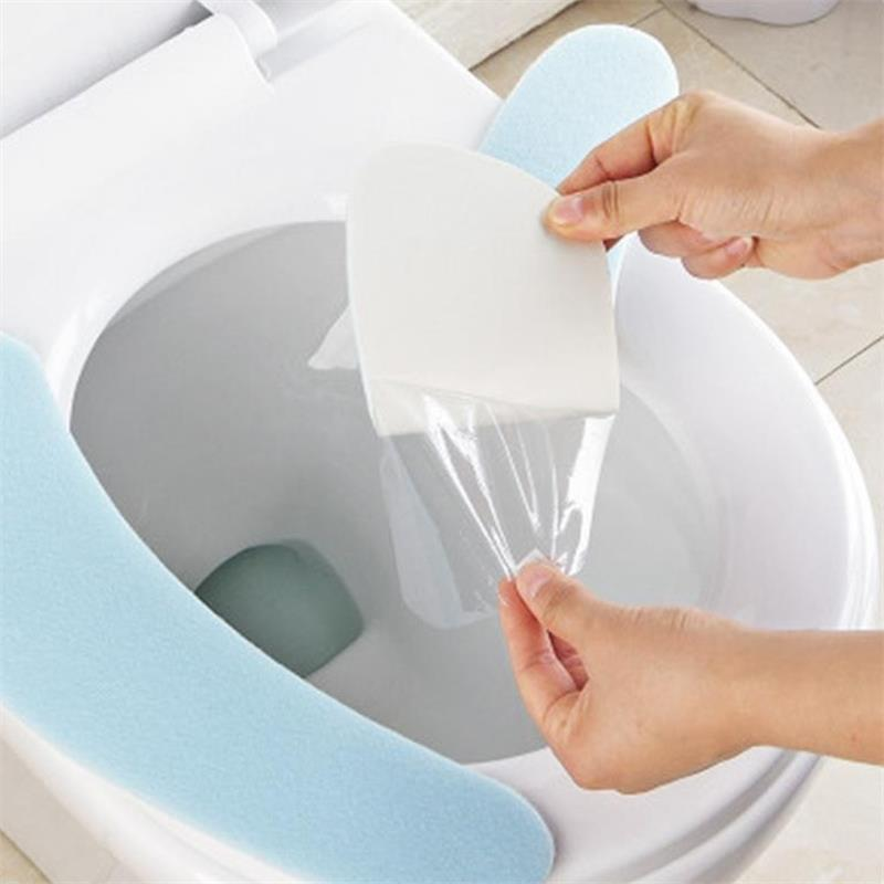 Image 2 - A pair Plain Color Paste Toilet Stickers Flannel Thickening Washable Bathroom Closestool Seat Cushion Cover Warm Home Decoration-in Toilet Seat Covers from Home & Garden