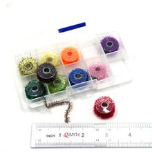 SAMS Box of 10 Spools Fly Fishing Tinsel Chenille Ice Cactus Crystal Flash Lure Bait Streamer for Fly Tying Materials Assorted