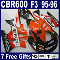 Custom ABS fairings set for Honda CBR600 F3 1995 1996 CBR 600 F3 CBR600F3 96 95 orange repsol road racing fairing kit+tank cover