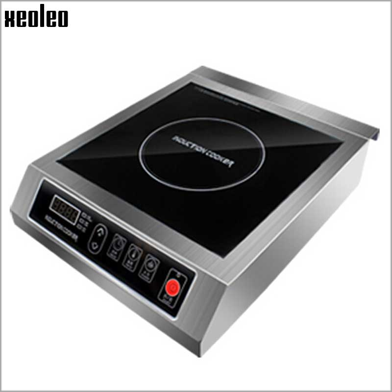Xeoleo Commercial Induction cooker 3500W  Stainless steel Induction cookers with timing  for hotpot/soup stewing/stir-fly xeoleo commercial induction 3500w stainless steel induction cookers with timing for hotpot soup stewing stir fly