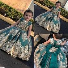 Милые Платья с цветочным узором для девочек с золотым кружевом и аппликацией, Длинные Пышные Платья с бантом, платья для причастия для малышей