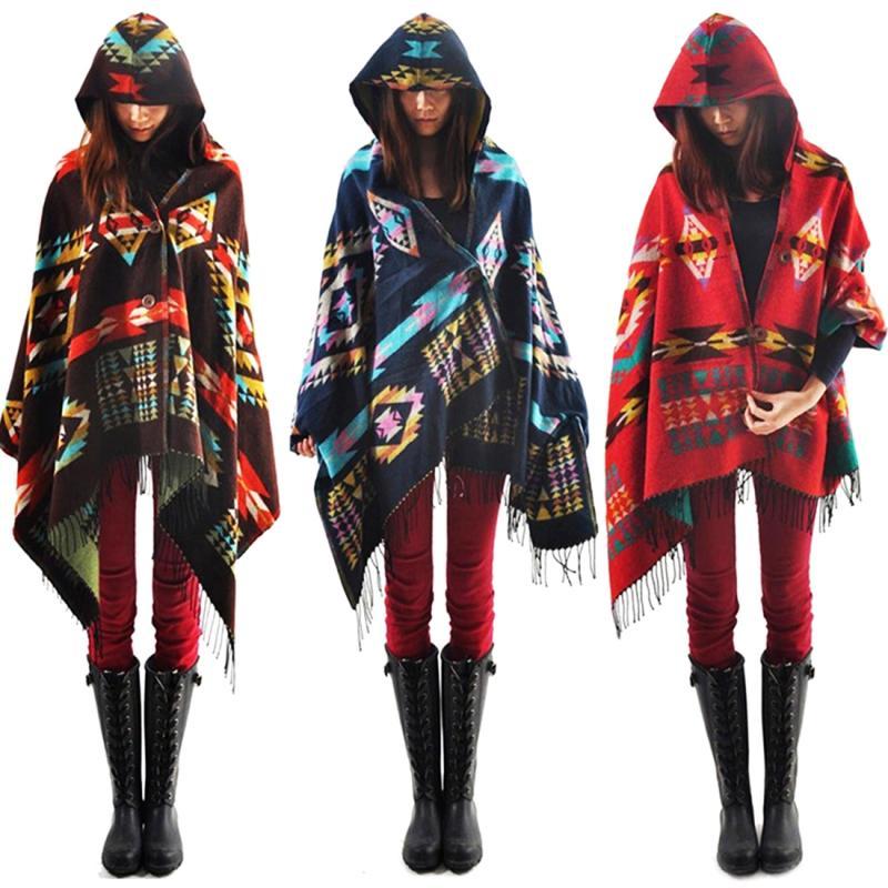 Women Bohemia Stylish Ethnic Printed Hoodie Cape Poncho Acrylic Wool Shawl Scarf Fashion Girls Sweater Fringe Hooded Wraps #30