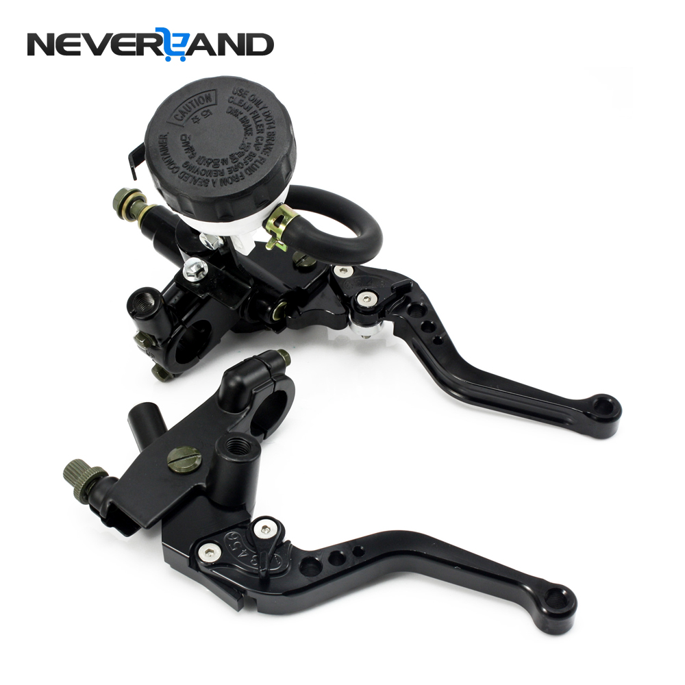 Universal 7/8 22mm Black Motorcycle Brake Clutch Master Cylinder Reservoir Levers Set For Honda Suzuki Kawasaki Yamaha D25 universal brake master cylinder levers 7 8 22mm motorcycle brake clutch master cylinder reservoir levers set black new