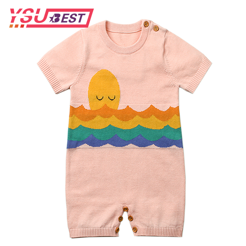 Summer Baby Girl Romper Fashion Knitting Pattern Newborn Boys Jumpsuits Casual Outwear Toddler Kids Onesie Short Sleeves Clothes