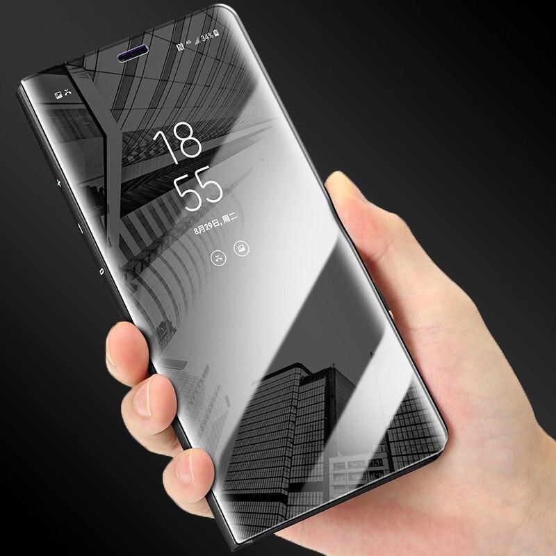 Luxus Spiegel Flip Fall Für Samsung Galaxy S9 S8 Plus S7 S6 rand Fundas ultradünne Pu-leder Klar Anzeigen Smart Cover Phone Cases